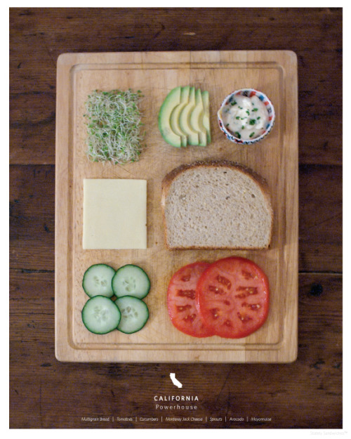 Stumbled upon Kelly Pratt's stately sandwiches project and I couldn't get enough of it. The California Powerhouse definitely looks like a sandwich I would like to eat along with the Kentucky Hot Brown.