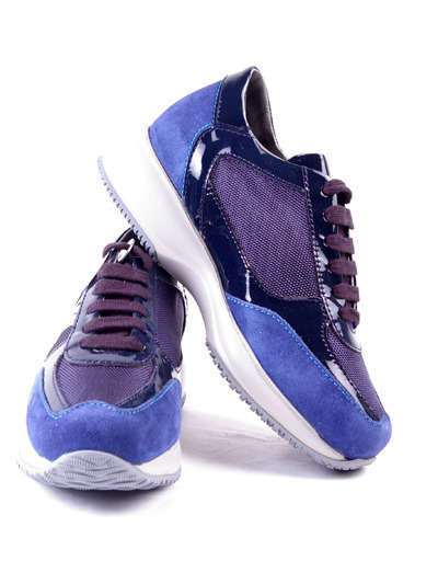 Hogan Suade Leather Shoes With Microfiber Details For Women - Blue & Navy BlueMore photos & another fashion brands: bit.ly/Jzyq1O