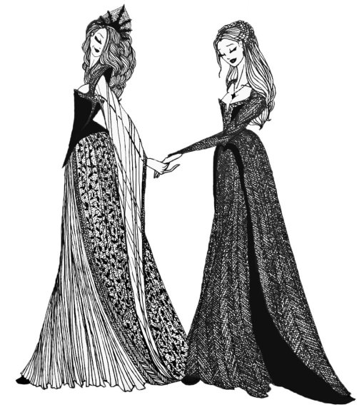 jechantepourlys:  Margaery and Sansa by ~cabins