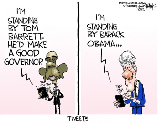 """Tweeting it in,"" Chip Bok© 2012 Creators Syndicate More cartoons"