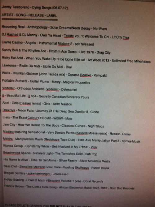Dying Songs setlist 6-7-12. Archived show links in the RADIO section——->