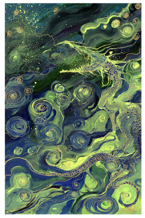 just-art:  The Dragon Yawned by Laura SiadakAcrylic and gold marker on Yupo paper.Artist: Tumblr / Facebook / Website