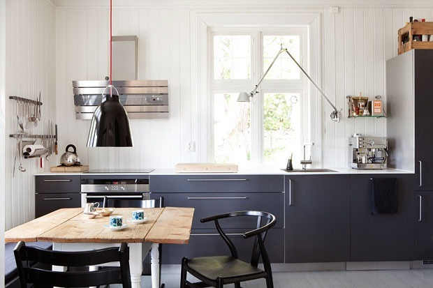 thebowerbirds:  Source: Diversion Project So many good piece in this kitchen. The wishbone chair, the Caravaggio pendant light and the Tolomeo wall light. Get them here, here & here.