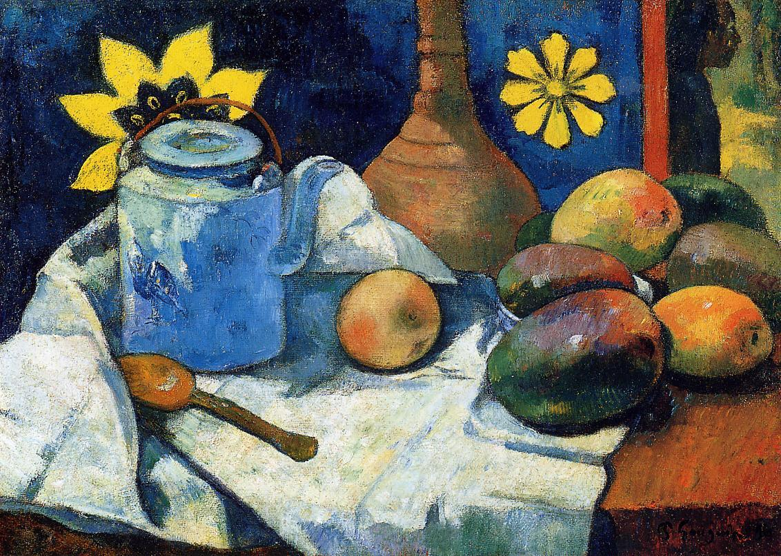 Still life with teapot and fruits  Paul Gauguin 1896oil on canvas 47.6 x 66 cm Metropolitan Museum of Art, New York, USA