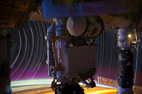 "smithsonianmag:    Stunning Star Trail Photographs from International Space Station  NASA astronaut Don Pettit recently uploaded a gallery of photos to the Johnson Space Center's Flickr page. Pettit on how he captured these amazing images: ""My star trail images are made by taking a time exposure of about 10 to 15 minutes. However, with modern digital cameras, 30 seconds is about the longest exposure possible, due to electronic detector noise effectively snowing out the image. To achieve the longer exposures I do what many amateur astronomers do. I take multiple 30-second exposures, the 'stack' them using imaging software, thus producing the longer exposure.""  Ed note: Here are the Hubble Space Telescope's finest photos. h/t Twisted Sifter"