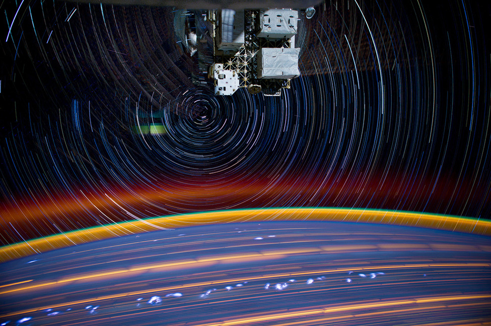 "Stunning Star Trail Photographs from International Space Station NASA astronaut Don Pettit recently uploaded a gallery of photos to the Johnson Space Center's Flickr page. Pettit on how he captured these amazing images: ""My star trail images are made by taking a time exposure of about 10 to 15 minutes. However, with modern digital cameras, 30 seconds is about the longest exposure possible, due to electronic detector noise effectively snowing out the image. To achieve the longer exposures I do what many amateur astronomers do. I take multiple 30-second exposures, the 'stack' them using imaging software, thus producing the longer exposure."" Ed note: Here are the Hubble Space Telescope's finest photos. h/t Twisted Sifter smithsonianmag"