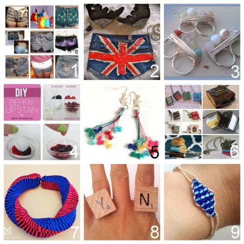 Roundup Nine DIY Jewelry, Beauty and Fashion Tutorials PART THREE. Roundup of this past week in case you missed anything. May 27th through June 2nd, 2012. *For past roundups go here: trebluemeandyou.tumblr.com/tagged/roundup  Eight Shorts from DIY People on Tumblr and One Tutorial on Ripping Designs into Shorts here. DIY Painted Union Jack Shorts (Clones 'N' Clowns) here. DIY Beaded Wire Wrapped Double Ring Video Tutorial - excellent (The Creative Muslimah) here. DIY Natural Lip Stain (The Beauty Department) here. DIY Etoile Earrings by Kamiori Kaori (Small Good Things) here. Roundup of DIY Mini Book Jewelry Tutorials here. DIY Color Blocked Ribbon Statement Necklace (A Matter of Style) here. DIY Scrabble Name Ring (Pretty Quirky Pants) here. DIY Diamond Beaded Bracelet (Studs and Pearls) here.
