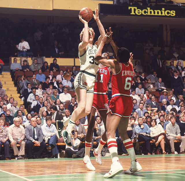 Larry Bird shoots over Caldwell Jones and Julius Erving during a 1981 Boston-Philadelphia game. The depleted Celtics could use Bird tonight when they take on the Heat. Boston needs one win to secure a trip to the NBA Finals. where they'd face Oklahoma City. (Manny Millan/SI)  ROSENBERG: Everything on the line for Heat tonight against CelticsVIDEO: Time to break up Big Three if the Heat lose on Thursday?GALLERY: Classic Photos of Larry Bird | Julius Erving