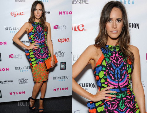 Louise Roe in a Manish Arora dress.