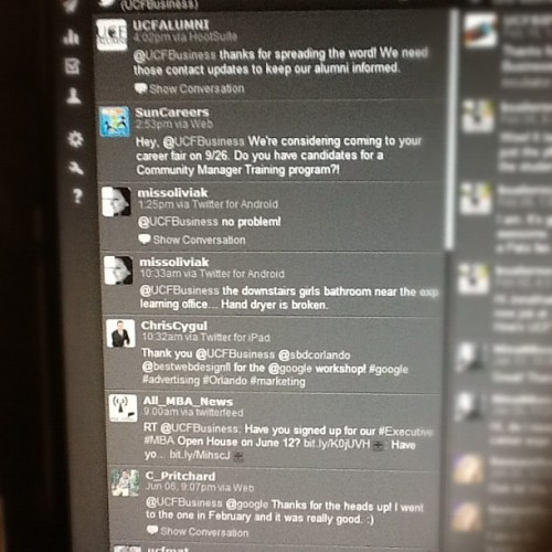 My social media dashboard. #ucf #socialmedia #hootsuite (Taken with Instagram)