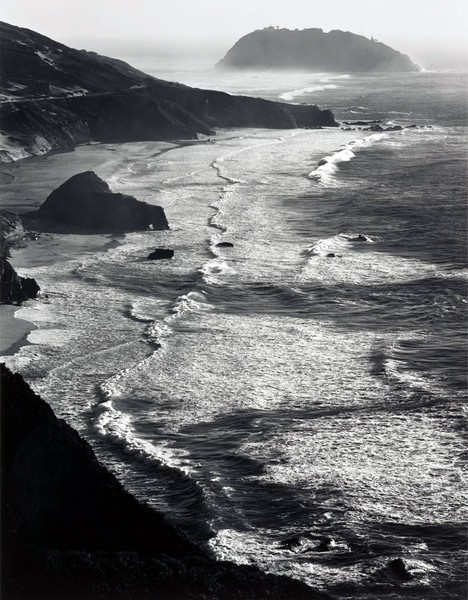 blindriver:  Ansel Adams, 1942  Storm, Point Sur, Monterey coast CA
