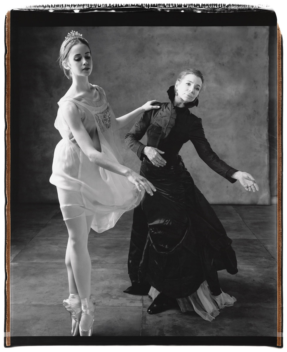 "Gelsey Kirkland, right, with dancer Mary Mills Thomas of the American Ballet Theatre Studio Company, photographed by Mary Ellen Mark in New York City for Vanity Fair, June 2007 Gelsey Kirkland joined the New York City Ballet in 1968 at age fifteen, at the invitation of George Balanchine. She was promoted to soloist in 1969 and principal in 1972. She went on to create leading roles in many of the great twentieth century ballets by Balanchine, Jerome Robbins, and Antony Tudor including Balanchine's revival of The Firebird, Robbins' Goldberg Variations, and Tudor's The Leaves are Fading. She is perhaps most famous to the general public for dancing the role of ""Clara"" in Baryshnikov's 1977 televised production of The Nutcracker."