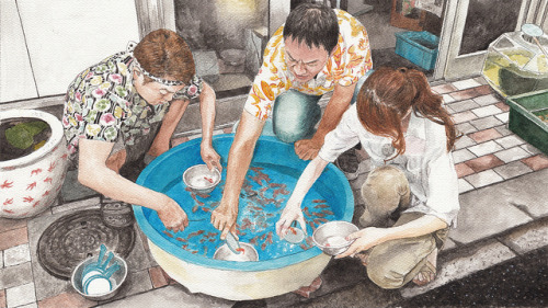 esobvio:  watercolor(goldfish scooping) by Kouhei Ashino on Flickr.