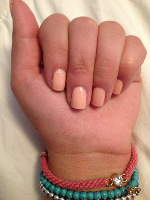Browsing the nail salon I discovered this amazing color. A perfect peachy, pink - almost like a ballet slipper: Essie's A Crewed Interest. It's described as a 'luminous peach shade'  on www.essie.com but I spy a bit of pink. This is with a base, two coats, and a top coat. Perfect for the summer and appealing for work AND the beach. It really makes your tan pop!This polish is $8 on Essie's website and can be purchased there. It's also available at local beauty supply stores!