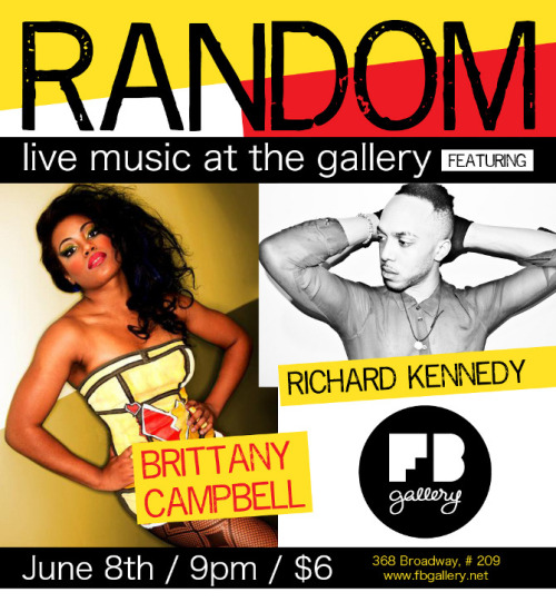 Random (live music at the gallery) Friday June 8 at 9pm featuring Richard Kennedy and Brittany Campbell. Fusing visual and performance art, come enjoy the raw, the real, and the randomness of it all.  http://brittanycampbellmusic.bandcamp.com/ http://soundcloud.com/richard-kennedy-5?utm_source=soundcloud&utm_campaign=share&utm_medium=twitter&utm_content=http%3A%2F%2Fsoundcloud.com%2Frichard-kennedy-5