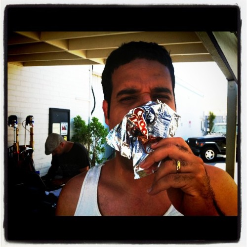 Erik Griffin enjoys a Choco Taco on set. #workaholics #dayonset #Montez #erikgriffin (Taken with Instagram)