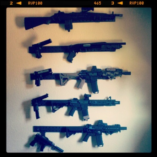 Added a new tier to the gun wall. Its starting to get ridiculous. :) (Taken with Instagram at Outer Heaven)