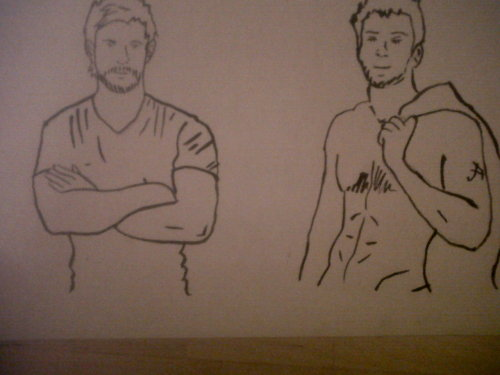 My drawings of Chris Hemsworth and Chris Evans :D