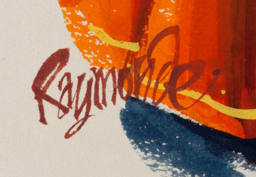 Detail of the beautiful signature of cartoonist Roy Raymonde