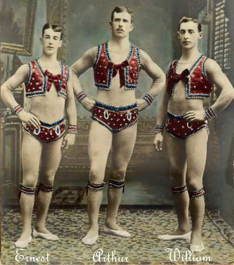 sisterwolf:  The Melvelle Brothers, circus acrobats  I love the fact that men get to wear this kind of performance outfit as well. You go, boys.
