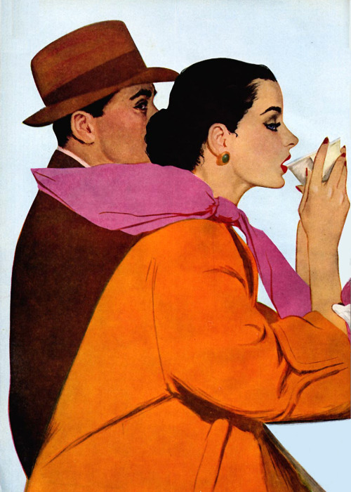 theniftyfifties:  Illustration by Coby Whitmore for Cosmopolitan, May 1951.