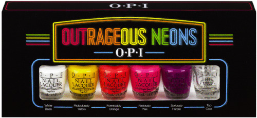 "OPI launches its first neon nail lacquer with the Outrageous Neons mini pack, including four limited edition neon shades, a neon white base coat, and OPI Top Coat. The four fluorescent hues include vivid shades of yellow, orange, pink and purple. The essential step for achieving the best results is to prep nails with one coat of neon white base, followed by two coats of neon lacquer. Colors dry matte, but adding one layer of OPI Top Coat results in bright, bold color with a shiny finish. ""Outrageous Neons marks OPI's foray into the world of neon color,"" explains Suzi Weiss-Fischmann, OPI Executive VP & Artistic Director. ""In the US, the FDA requires that all cosmetic colorants be approved, and each batch must be certified for purity. The lacquers in this set are formulated with new, FDA-approved neon pigments for a look that's dazzlingly vibrant."" Along with neon white base and OPI Top Coat, the four shades in the Outrageous Neons mini pack include the following: Ridiculously Yellow - So yellow, it's beyond understanding. Formidably Orange - Brace yourself for this powerful orange. Riotously Pink - This pink has been known to create a scene. Seriously Purple - I really mean it…it's really purple! As with all OPI nail lacquers, Outrageous Neons contain no DBP, Toluene, or Formaldehyde. This limited edition mini pack promotions will be available beginning July 2012 for $19.95 (USD) suggested retail for each mini pack (includes all six products). For more information, please call 800-341-9999 or visit opi.com. I'm excited to see what OPI's venture into neons will be like! What are you looking forward to from this collection?"