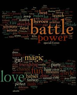 word clouds for boys' and girls' toys