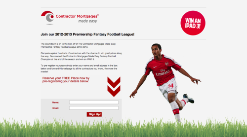 "Fantasy Football splash page ""Impressive and speedy service and very easy to work with""- Ian Burrows, Contractor Mortgages Managing Director,"