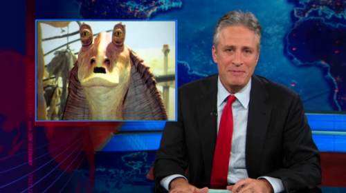 Jon Stewart: That even beats Jar-Jar Hitler. (jar-jar voice) meesa, meesa takin over Sudetenland.