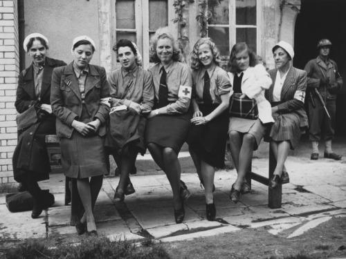 German nurses captured by US troops at the Cherbourg Hospital. Normandy, 1944.