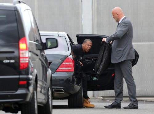 Jay-Z was spotted arriving at Le Bourget Airport in France before flying out to Germany for his Watch the Throne tour.