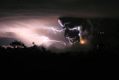 A Volcanic Eruption During Thunderstorm.