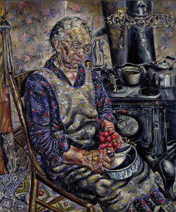 cavetocanvas:  Ivan Albright, The Farmer's Kitchen, c. 1934 From the Smithsonian American Art Museum:  Ivan Albright's obsessively detailed painting style put on canvas the crushing impact of drudgery and advancing age. The swollen, red-knuckled hands of this farmwife preparing to clean radishes, pushed forward until they are impossible to ignore, evoke an aching sympathy. The cast-iron stove has become a tool of torture this woman cannot avoid in her daily grind. Wrinkles multiply over her drooping flesh, speaking too eloquently of years full of ceaseless labor. The family cat offers this farm wife no companionship, but shrinks away from her. Outside in the fields must be a farmer husband equally worn by long labor. The burden of empathy for this hard life, made yet harder by the Depression, is almost unbearable. Who is this poor farmwife, limp with weariness and lined with toil? One of Albright's neighbors in Warrenville, Illinois, posed for the painting. But no individual can explain the emotional freight of Albright's depiction. He aged and distorted every person he painted, young or old. Albright painted flesh that does not heal as living flesh does, but crumples and shows the scars of every event with equally cruel clarity.