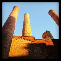 My favorite time of day here. #chimney #smokestack #industrial #factory (Taken with Instagram)