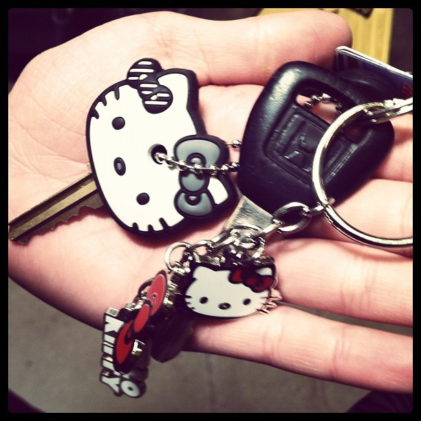 Delaney's #HelloKitty #keychains and #key cover. 😊 #hk #keys #keychain #car #instagram (Taken with Instagram)