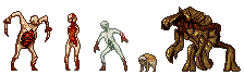 "trogl0dyte:  Lol guiz I made some necromorph sprites Left » right Slasher, Puker, ""Kiddiemorph"" ( one from the pack), Lurker (no missiles), and a Brute Im not 100% on the names but I think Im right."