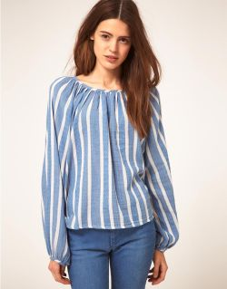 MiH Peasant Shirt in Greek StripeMore photos & another fashion brands: bit.ly/JgOJGh