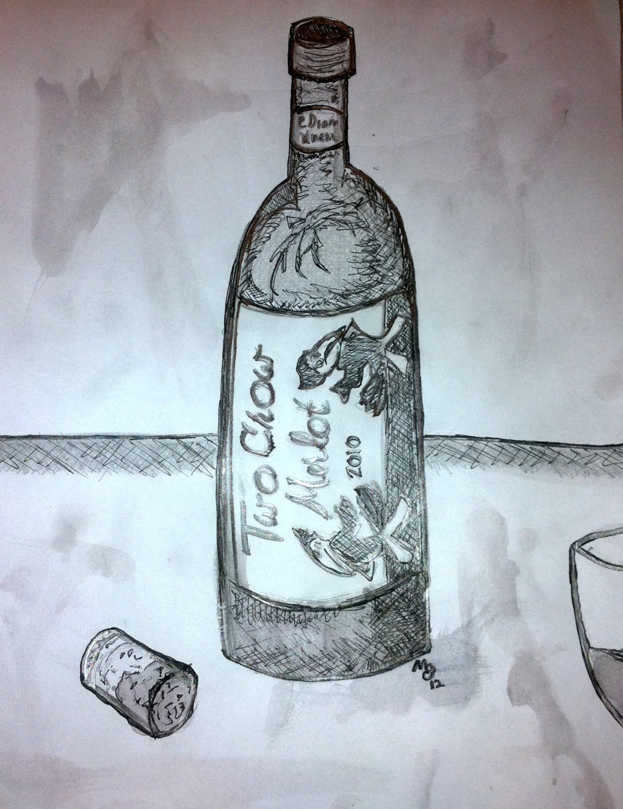 Two Crow Merlot Pencil, Pen, Wine When visiting Dustin and Erica recently I had some of her father's wine and I sketched it.  I used wine to shade and color the cork, lower part of the bottle, and the wine in the glass.