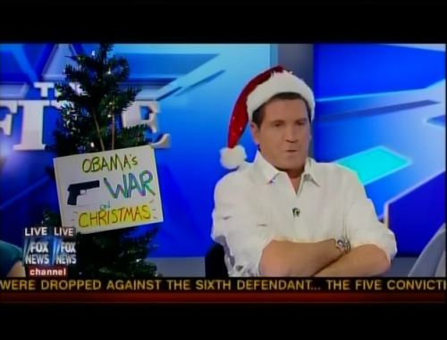 "The Best/Worst of Fox News Correspondent Eric Bolling, RFN's Most Misinformed Person of the Year 1. Eric Bolling stated that ""every terrorist on American soil has been a Muslim,"" and that this is grounds enough for the NYPD to conduct surveillance on mosques. 2. Eric Bolling argued that ""President Obama is really raping the American taxpayer, and he's not even buying us dinner or a cocktail."" 3. Eric Bolling accused Obama of hosting ""hoodlums"" in the ""hizzouse,"" when he hoted President Ali Bongo of Gabon, and later referred to The White House as ""the big crib."" 4. Eric Bolling was upset that President Obama was ""chugging forties"" in Ireland instead of visiting Joplin, Missouri. 5. Eric Bolling told Rep. Maxine Waters, ""Congresswoman, you saw what happened to Whitney Houston. Step away from the crack pipe, step away from the Xanax, step away from the Lorazepam because it's going to get you in trouble."" 6. Eric Bolling argued that liberals are trying to brainwash your kids against capitalism through the Muppets movie. 7. Eric Bolling kicked an atheist commentator off his show because of his anti-Jesus comments. 8. Eric Bolling believes that Sandra Fluke's rise to fame is part of an elaborate White House conspiracy. 9. Eric Bolling once claimed that President Obama had been a drug dealer, called him an ""egomaniac"" for playing golf, and entertained the birther conspiracy. 10. Eric Bolling complained about President Obama's ""War on Christmas"" by emphasizing that Obama had highlighted and celebrated ""Ramadan"" and ""some Muslim holidays."" 11. Eric Bolling thinks that The Hunger Games is a conservative teaching tool. 12. Eric Bolling equated the Northern Arapaho tribe in Wyoming killing two bald eagles for a religious ceremony with permission from the National Fish and Wildlife Service to the burning of the American flag."
