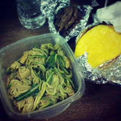Dinner: #chicken #curry with #zucchini #pasta, half a #mango, and the leftover #plantain #chocolatechip #cookies from earlier! #paleo (Taken with Instagram)