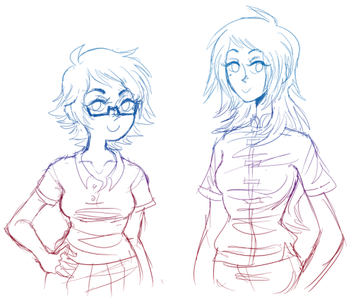 so ive been told my characters kinda look the same, so im gonna start slowly tweaking them until they become more solid on their own. here's Ami and Misha with some haircuts, i think i want to work more on their shapes next, but im not sure if these are different enough :/