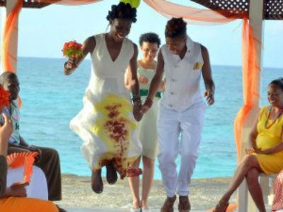 unapproachableblackchicks:   When Nicole Y. Dennis married her longtime partner, Dr. Emma Benn, the festivities were memorable for the reasons you'd expect — friends, family, love and plenty of emotion. But there was something else: The ceremony was Jamaica's first lesbian wedding.   Progress.
