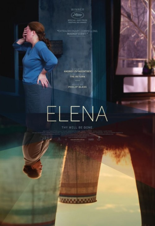 "Elena (2011) Director: Andrei Zvyagintsev Writer: Oleg Negin Elena is a different kind of thriller than you might be used to.  It isn't playing at your local multiplex, in fact as of writing this it is only playing in 7 theatres in the country, but is worth seeking out if you like your drama a little meaty and not particularly spelled out for you how exactly how you are supposed to feel.  I saw this movie about a week ago and on my walk home I wasn't quite sure how I felt about it.  It was a kind of frustrating experience and one I didn't totally feel comfortable reviewing right away.  So I thought about it for a while and after a few false starts I started to write and what I discovered through writing about it was a movie that I had much more respect for and admired more than I had originally thought. Nadezhda Markina plays the titular Elena, a widowed nurse who took fell in love Vladimir, played by Andrey Smirnov, a patient she was taking care of.  The movie takes place in the present after they have been married for about a dozen years.  Elena is from a different world than Vladimir.  Though she is his wife she still has the caretaker mentality.  She wakes up, cleans, makes breakfast, and then wakes up Vladimir as if he is still her patient.  These long scenes, coupled with the long scenes of Elena traveling to the slums to visit her Son and his family, really drive home the duality of how she is living. These scenes also do a great job of setting up a lot of the characters personalities without doing any kind of voice over explanation like might be present in a more mainstream American movie.  Just through their actions we get what kinds of people we are dealing with, the sure sign of great directing.  Filmmaker Andrei Zvyagintsev has crafted a very real world type of thriller that spends as much time setting up characters and situations as he does with the actual thriller part so that when the last act rolls around you are much more invested in characters and the moral questions that are being raised than you would be other wise. Elena is set in the gloomy, and seemingly always wet, Russia.  Elena's son can't support his own family and is constantly asking her for money.  Vladimir is sick of it and refuses to help Elena's son and his family.  Because of this Elena's grandson will be forced to join the military.  After a heart attack Vladimir's own daughter comes out of the woodwork.  The two have a strained relationship but after looking death in the eyes Vladimir comes to a realization that when he dies his estranged daughter will be the sole heir to his fortune forcing Elena to choose between her life as a meek housewife or going forth with a desperate plan to help her son.    Nadezhda Markina turns in a fantastic and naturalistic performance as Elena.  Everything we need to know about her we can just see in her face.  There are no tricks going on here.  There directing is confident and that can especially be seen in the performances, and especially the lead.  Famed composer Philip Glass also turns in a rather hypnotic score that does not over power the film but rather supports it the way great scores should. Looking back at this review now that it is done nothing has surprised me more than what I wrote which is a good review.  I remember being so confused as to why Elena had received such glowing praise from critics and won the Special Jury Prize at the Cannes Film Festival last year.  All I saw was a story that I felt like I had seen in countless other thrillers, except this time it was set in Russia and with a lot of scenes of people not doing anything ""important"".  But in thinking about it I realized it was all important in terms of shaping the world and of course the characters.  Elena is a smart and thoughtful film that presents realistic characters in a realistic and harsh situation but doesn't force you to pick a side.  If you are looking for a smart, stylish, and different kind of thriller Elena is one to check out.  Side Note!  I really like the poster for this.  More so than the drawn one that Sam Smith did.  I do like Smith's work in general though.  I have a few of his things hanging in my apartment.  Thats all!"