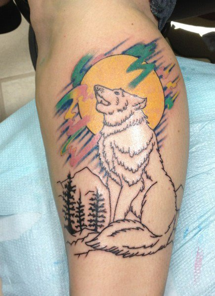 "fuckyeahtattoos:  This is my lone wolf, comically named ""Joey"" after my tattoo artist at South Seas Tattoo Co in Ft.Lauderdale, Florida. He did a phenomenal job, he didn't even need to change his sketch once. I knew it was perfect the moment I saw it. I got this tattoo to represent the wolf inside of me. My independence is very important to me. But like wolves, I am stronger when I am with my ""pack"". The pastel colors were inspired by the aurora guiding lights in Arctic countries. I've grown up admiring them. This is my fifth tattoo and my favorite so far. Still need one more session for color on the wolf & mountains."