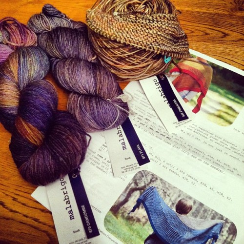 """To work on at Knit Night"" & ""I really need another (insert shawl, project, needle, yarn…)  My leap onto the Color Affection Bandwagon. #fiberfollies #iphone #summer #hinky #knitting #fiberfun #ColorAffection #MalabrigoSock #FunWithColor (Taken with Instagram)"