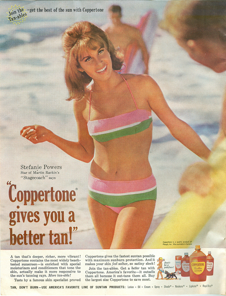 Coppertone advertisement featuring Stefanie Powers, 1966.