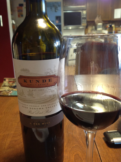 Kunde Family Estate 2009 Red Dirt Red: Inky red in color (the name comes from the soil in which the grapes are grown). Rich red berry aromas with currant and plum and a dash of vanilla. Very intense, juicy and dry in the mouth. Ripe cherry, an array of spices (from the old-vine Zin?), complex fruit flavors, layers upon layers. This is a wine to savor. $30 retail (I received as a sample).