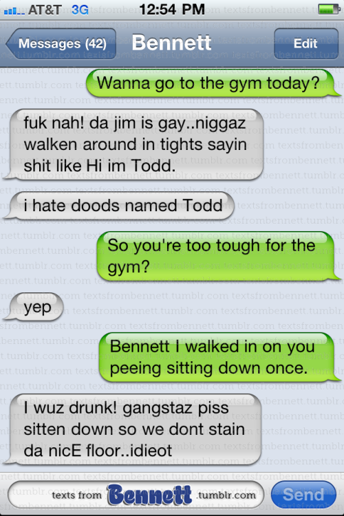 "fiveserpentsteeth:  textsfrombennett:  Getting Fit With Bennett  ""I hate doods named Todd""  that reminds me of Todd from Community it fits almost too well"