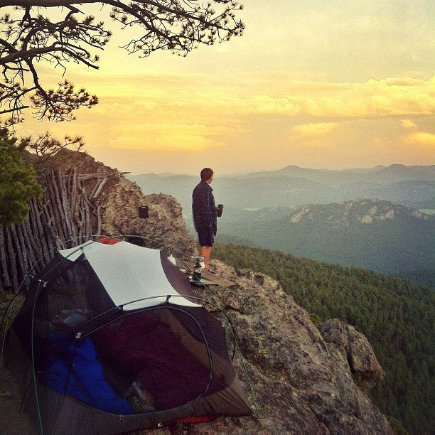 gavinrudy:  Le Campsite // #camp #camping #sunset #cliff #clouds #cloudporn #sky #skyporn #sunset #summer (Taken with Instagram)
