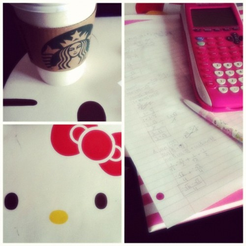 Math homework. #bored#hellokitty#Starbucks (Taken with Instagram)